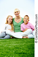 Family on grass