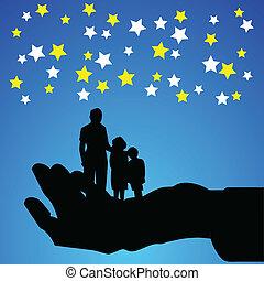 family on hand vector silhouettes