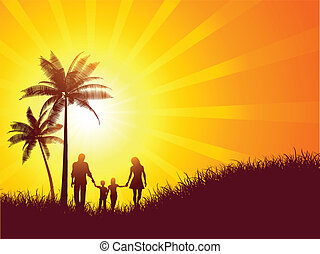 Family on holiday - Summer landscape with silhouette of a...