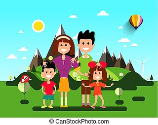 Family on Holidays. Landscape with Mountains on Background.