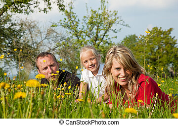 Family on meadow in spring