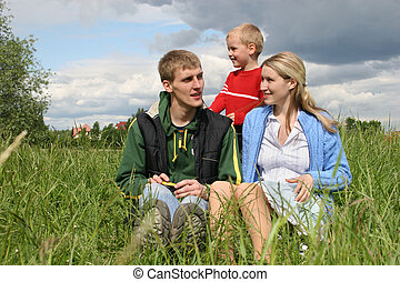 family on meadow