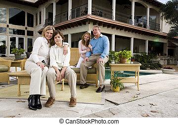 Family on patio