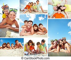 Family on resort - Collage of happy family spending summer...