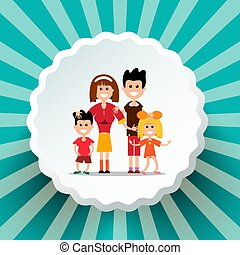 Family on Retro Vector Background