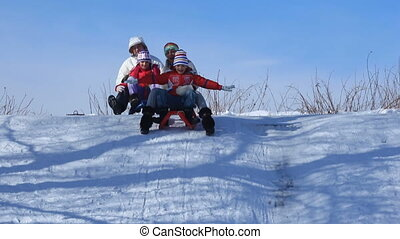 Family on sledges