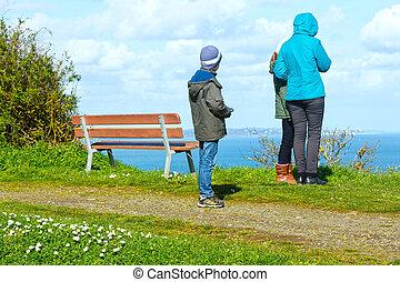 Family on Spring Atlantic Ocean coast (France)
