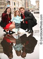 family on street