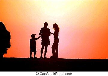 Family on sundown