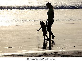 Family on sunset