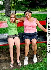 Family on swings