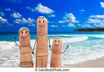 Family on the beach. Exotic vacation