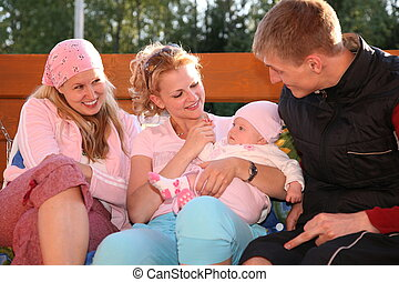 family on the bench