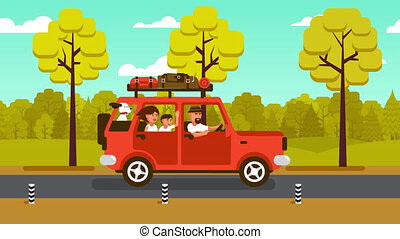 Family on the car goes on vacation on a country road