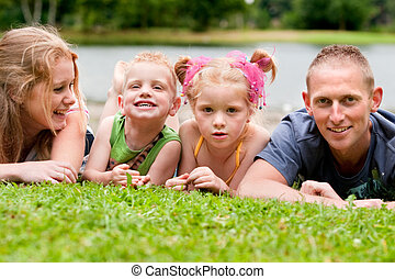 Family on the grass