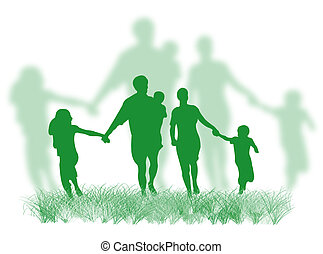 Happy family silhouette walking and running on the grass
