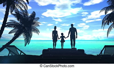 Family on the shore of the ocean
