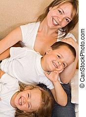 Family on the sofa