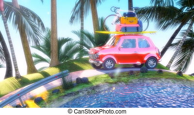 Family on their way to summer holiday 4k animation 3d render