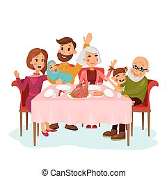 Family on traditional holiday dinner