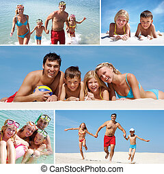 Family on vacations - Collage made of images of a family...