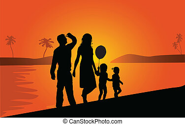 Family on vacations , vector work