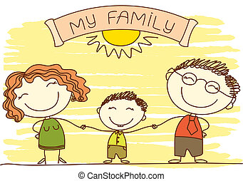 Family on white.Vector happy parents and text.