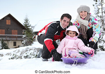 Family on winter holiday