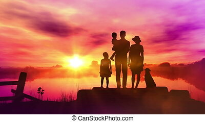 Family on wooden pier at sunset background
