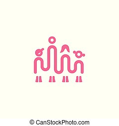 Family one line icon. Simple linear icon with dad mom son and daughter.