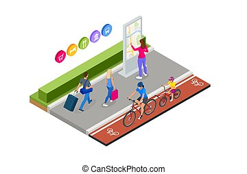 Family outdoor activity. Happy family concept. Healthy Lifestyle Outdoor. Bicycle isometric people.