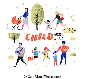 Family Outdoor Activity. Parents Walking in the Park with Children. Happy People Relaxing on Nature. Vector illustration