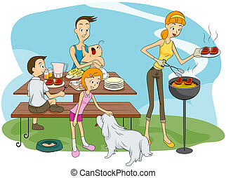 Family Outdoor Barbeque - Family Outddor Barbeque with...