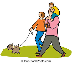 family outdoor fun - Couple walking in a park with their son...