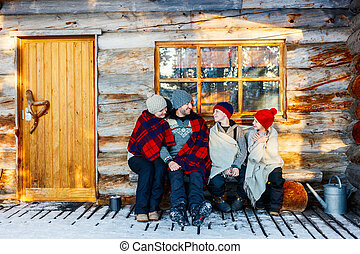 Family outdoors on winter