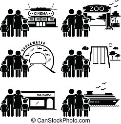 Family Outing Activities Clipart - A set of human pictogram ...