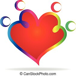 Family outline heart shape logo