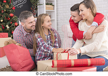 Family packing presents