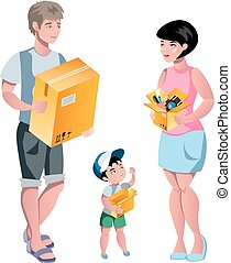 Family packing their stuff and prepare for relocation.