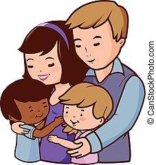 family., padre, ilustración, madre, vector, children., feliz