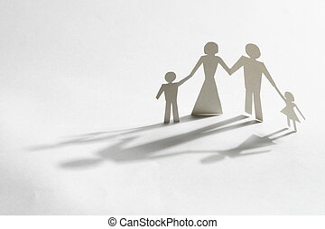 family paper his her and two child