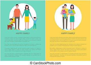 Family Parent and Kids Poster Vector Illustration