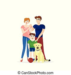 Family Parents And Son With Labrador Dog Isolated On White Background