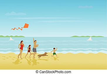 Family, parents, girls, boys are running on the beach on a happy holiday With sea as background
