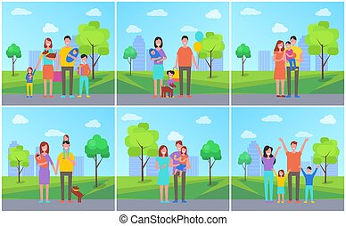Family Parents in City Kids Vector Illustration