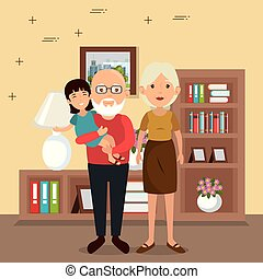 family parents in house place scene