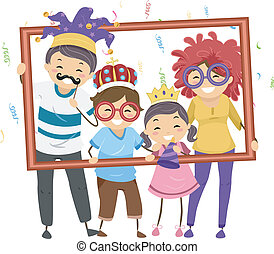 Family Party Frame - Illustration Featuring a Family in...