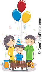 Illustration of a Boy Celebrating His Birthday with His Family
