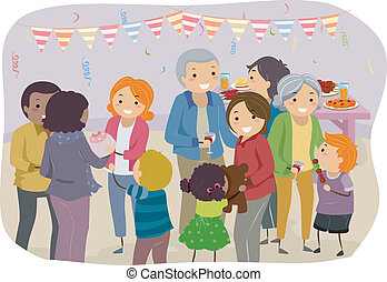 Family Party - Illustration of a Family Mingling With the...