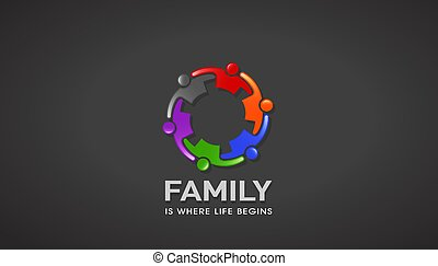 Family People Going together Reunion. Vector Design - Group...